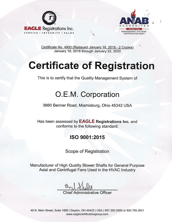 Certifications Oem Corp
